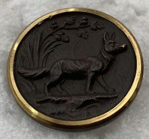 RARE Antique Brass Rimmed FOX Carved Black Horn Button Paris Backmark #2802