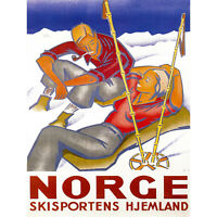 TRAVEL WINTER SPORT NORWAY SNOW SKI HOME SMIKE PIPE ART PRINT POSTER 30X40 CM 12