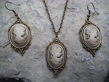 VICTORIAN WOMAN PORTRAIT CAMEO NECKLACE AND EARRINGS SET-- BRONZE, GIFTS, !!