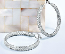 14K White Gold Over 3.00 Ct Round Cut Diamond Women's Hoop Earrings