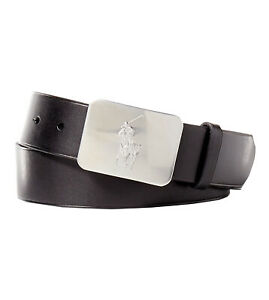 Polo Ralph Lauren Men's Big Pony Logo Plaque Leather Belt, Black, Sz 36 (8189-7)