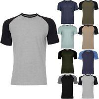 Mens Designer Contrast Shoulder Raglan Sleeve Ribbed Crew Neck Stretchy T-Shirt