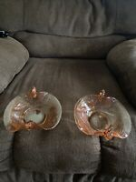 """""""2"""" Vintage Double Swan Handle Pink Depression Glass Serving/ Candy Dishes"""