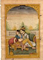 Mughal Emperor and Empress On Terrace Handmade Fine Miniature Art Painting