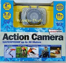 """Streetwize Waterproof Action Camera With 2"""" LCD Touch Screen Display Inc Mounts"""