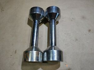 Vintage Joe Weider Chrome Dumbbells Screw On Weights Pair Of 2 - 5 Pounds Each