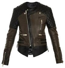 ~$3.5K BALENCIAGA GREEN KHAKI & BLACK QUILTED MOTORCYCLE JACKET (O - M - G!)~ 42