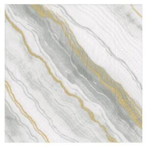 Caspari Paper Luncheon Napkins, Marble Grey, 2 Packs (13742L)
