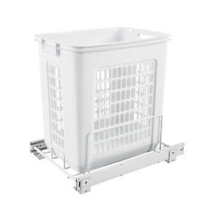 Rev-A-Shelf HPRV-15020 S Large 20-Inch Pullout Polymer Clothes Hamper, White