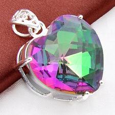 Huge 24MM Heart Shaped Rainbow Mystical Fire Topaz Gems silver Necklace Pandants