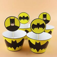 🦇12x Batman Cupcake Topper + Wrapper. Party Supplies Lolly Loot Bag Banner💥