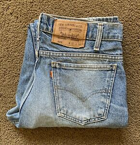 Orange Tab 505 Levis Jeans W32 L34 Men's Denim Medium Blue Wash