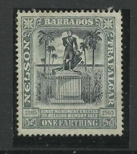 Barbados 1906 Sg 145, 1/4d Black & Grey Mounted Mint no gum. {C/W 172}