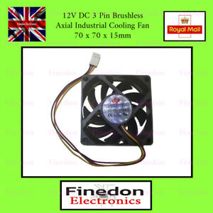 DC 12V 3 Pin Brushless Axial Industrial PC Cooling Fan 70mm 70x70x15mm UK Seller