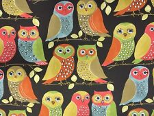 """Outdoor Indoor Canvas Fabric Sold By The Yard 54"""" W Owl Print  By P Kaufmann"""