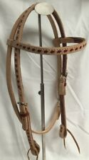 Western Horse Headstall - Natural w/Laced Burgundy Weave All Around - New