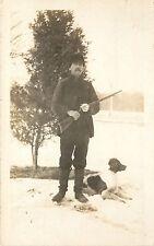 c1910 RPPC Postcard; Hunter Snow Rifle Hunting Dog Springer Spaniel Unknown US