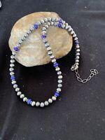 Native Amer Navajo Pearls Sterling Silver Purple Sugilite Bead Necklace 19in 488