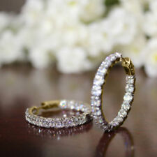 4.68 Ct Round Diamond Hoop Earrings For Womens 14K Yellow Gold Over Xmas