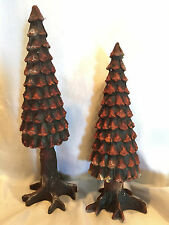 Collectible 1993 Department 56 #52213 Village Pine Cone Trees - Set of 2 Mib