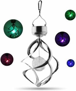 LED Solar Wind Chime Lamp 7 Color Dimmable Hanging Spinner Light Garden Outdoor
