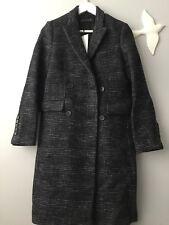 ZARA DE CUADROS doble botonadura abrigo de lana Talla Xs RU 6/8 Auténtico Zara