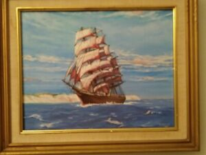NAUTICAL WALL ART-SAILING SHIP OFF THE CLIFFS OF DOVER ENGLAND
