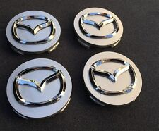 NEW SET OF 4 MAZDA SILVER CENTER WHEEL COVER CAP CHROME EMBLEM LOGO G22C-37-190A
