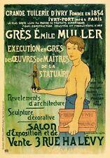 Ap158 Vintage 1897 français GRES EMILE MULLER publicité poster carte imprimer A5
