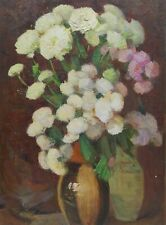 Floral Still Life - Original Antique Soviet Oil Painting Flowers, Vintage Art.