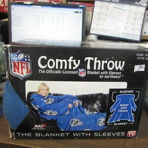 DETROIT LIONS - COMFY THROW - OFFICIALLY LICENSED BLANKET WITH SLEEVES - IN BOX