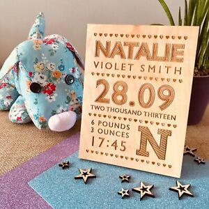 Personalised Birth Announcement Plaque Baby Keepsake Nursery Christening Gift