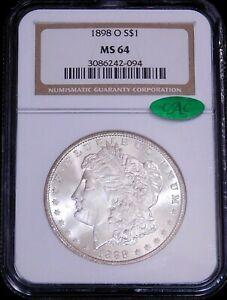 1898-O Morgan Dollar NGC MS64 CAC Blast White Superb Luster PPQ #GE759