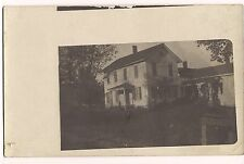 RPPC HOUSE in WHITE Two Story Home SPOOKY Figure by Porch Postcard Real Photo
