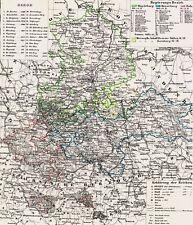 🌲🦌175 Jahre alte Landkarte Magdeburg Weimar Wittenberg Erfurt Weissensee 1844