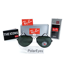Authentic Ray-Ban Aviator Polarized Black Frame Green RB 3026 002/58 62MM Large