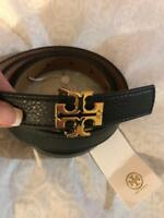 "Tory Burch Robinson Reversible Black & Tigers Eye Leather Belt 1"" Size XS NEW"