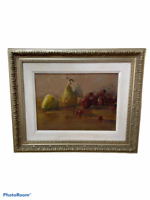 Vintage Ornate Silver Gilt Wood Framed Oil on Canva Painting Still life, signed