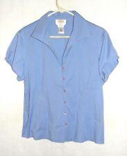 Women's Talbots Light Blue Button Up Cap Sleeve Blouse/Top - Size Petite L - EUC