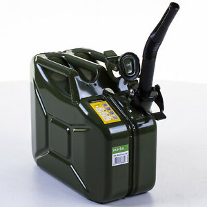 10L Metal Jerry Can Car Storage Fuel Petrol Diesel Green Container & Flexi Spout