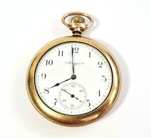 1899 US Gold Plated Open Face Gents Half Hunter Pocket Watch by Elgin (AHB)