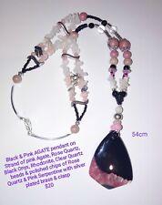 BARGAIN 2 strand necklace AGATE pendant, ROSE QUARTZ, RHODONITE, SERPENTINE 54cm