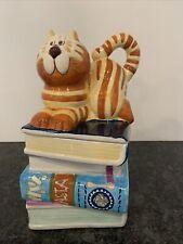 Cat Sitting On A Stack Of Recipe Dessert Pasta Cook Books Cookie Treat Jar