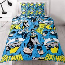 SINGLE BED DUVET COVER SET DC COMICS BATMAN HERO BLUE YELLOW REVERSIBLE