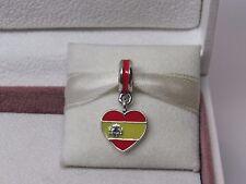 New w/Box Pandora Spain Flag Heart Enamel Dangle Charm 791550ENMX