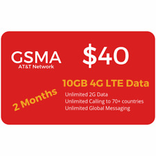 At&T Network $40 Plan 10Gb Lte Unlimited Minutes/Text 2 Months Included+Sim Card