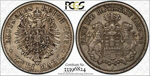 HAMBURG - BEAUTIFUL HISTORICAL PCGS CERTIFIED SILVER 2 MARK, 1876 J , KM# 604