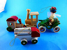 4 Vintage Wooden Christmas Ornaments Trains, Logging truck Jolope with lady