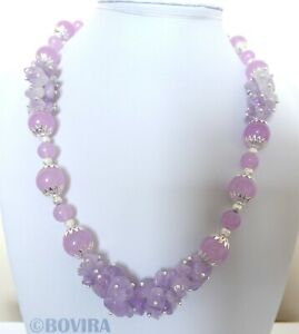 Natural Jade and Amethyst Silver Plated Handmade Necklace For Women-Lilac Jade-