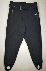 VTG HEAD Sportswear Womens Sz 14 High Waist Snow Ski Pants Belted Stirrup Black